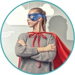 Mom with Superhero Cape. Florachoc keeps kids healthy and mom happy